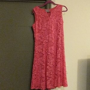Pink lace overlay dress